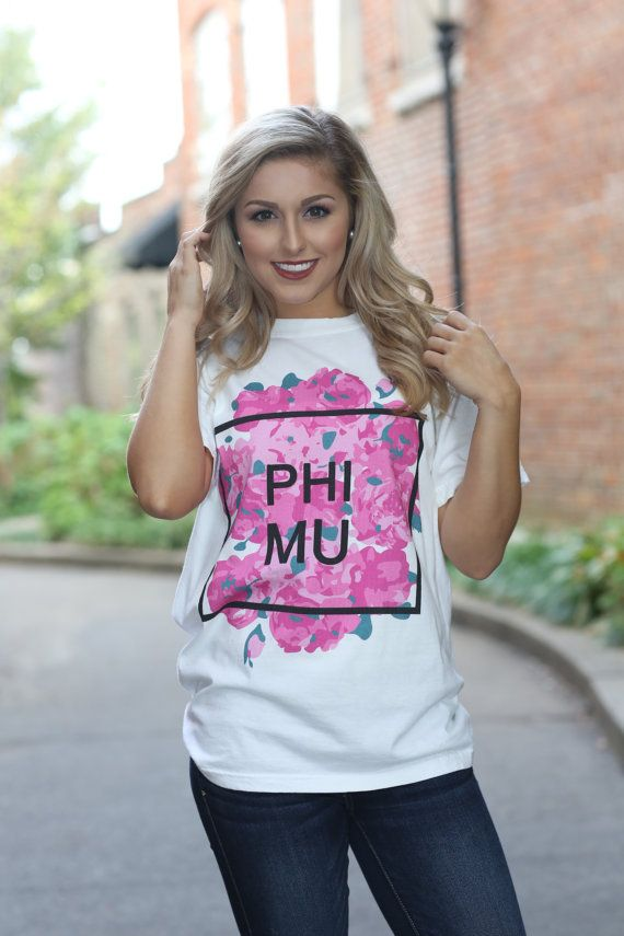 Phi Mu Comfort Colors Short Sleeve and Long Sleeve Tshirt - Phi Mu T-shirt - Phi Mu Lettered Shirt