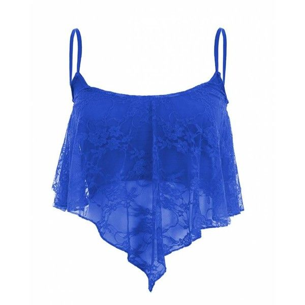 Dharma Royal Blue Flare Lace Crop Top (215 ZAR) ❤ liked on Polyvore featuring tops, bralet crop top, lace top, lacy tops, blue print top and electric blue top