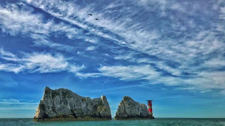 Was out on the boat yesterday recording a project about the Spanish Armada when this happened..... A pair of Spitfires flew over the Needles a historic British landmark. That friends is a hit of history.