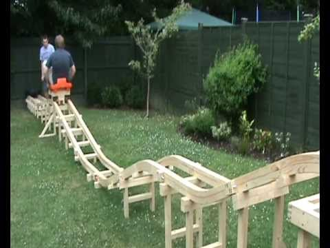 Homemade Backyard Roller Coaster. Not too steep....