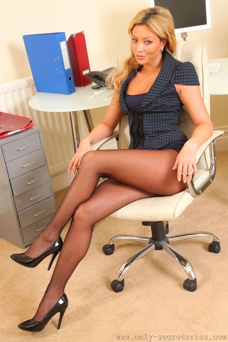 Pantyhose cougar woman office