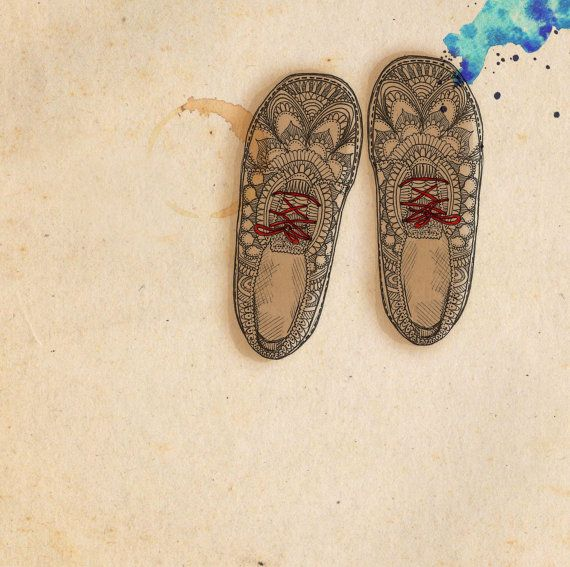 Aztec Shoes - ink, watercolour & collage illustration print