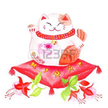 maneki neko: Chinoise chat chanceux assis sur le coussin rouge fuchsia et patte agitant. Illustration