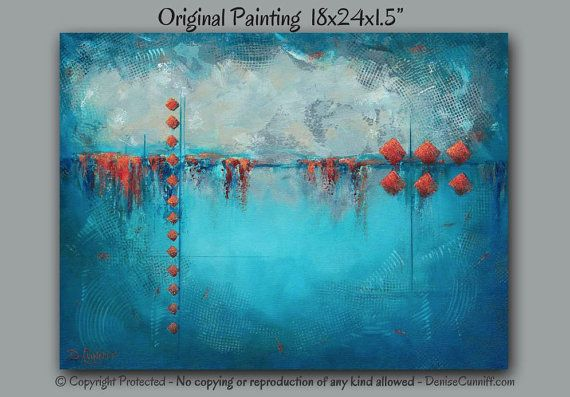 Abstract Paintings With Red Grey Taupe Colours