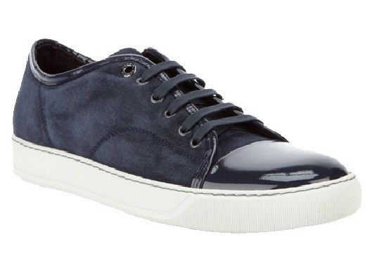 Authentic Lanvin Men Navy Blue Suede Low-top Sneakers The Lanvin Men's  Patent Toe-Cap Classic Sneakers for the pre-collection, seen here in navy  blue.