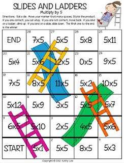 Multiplication Chutes and Ladders - so cute!