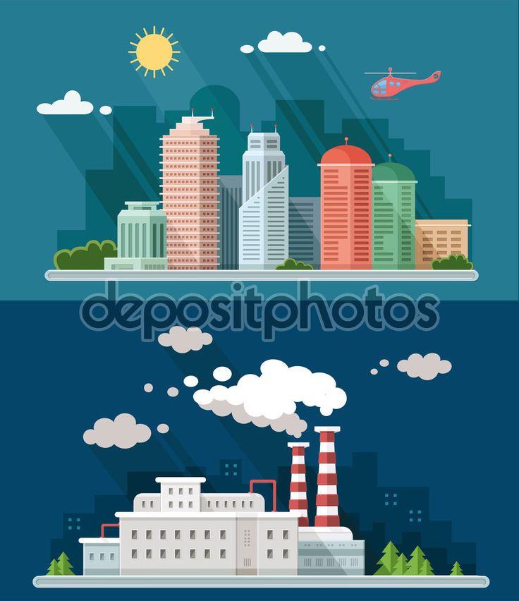 Набір плоский дизайн. Міський краєвид, включаючи вниз ілюстрації — стокова ілюстрація #97724166