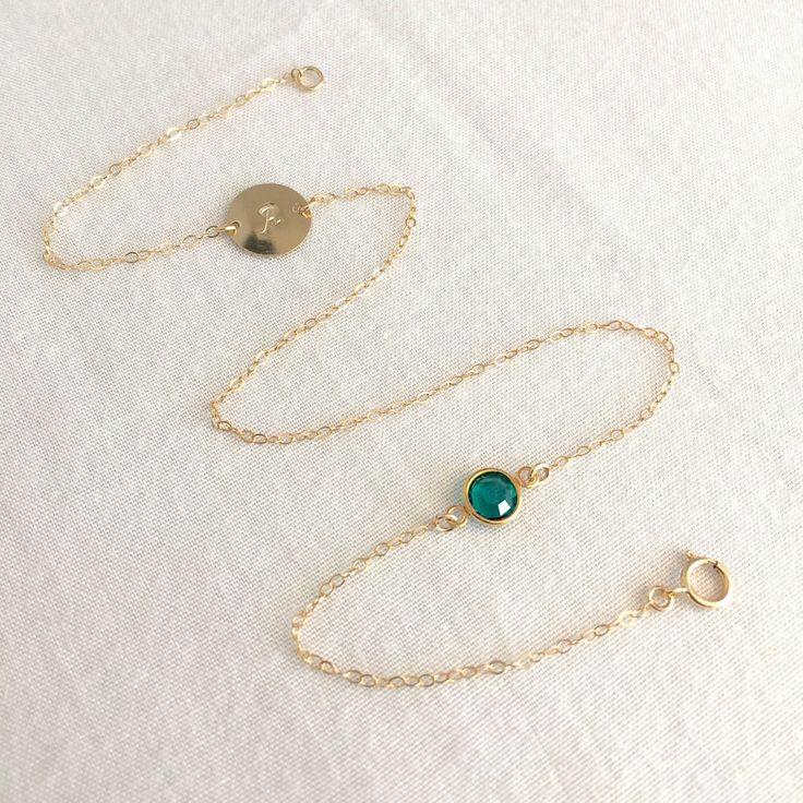 Personalized Bracelet, Wrap Bracelet, Birthstone Bracelet, Initial Bracelet, Layered, Gold Filled, Sterling Silver, Disc Bracelet, Everyday by StampedSchmuck on Etsy