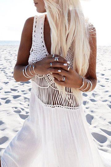 White Plunge Woven Side Split Dress