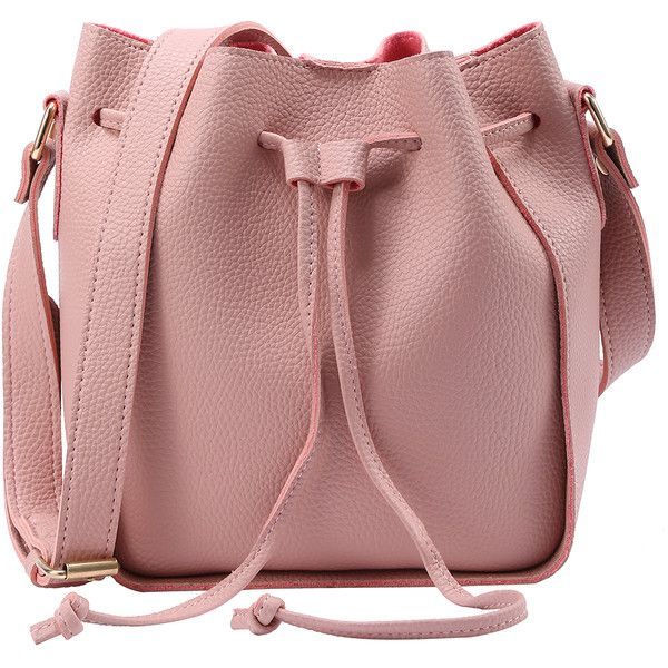 Embossed Faux Leather Drawstring Bucket Bag - Pink (€16) ❤ liked on Polyvore featuring bags, handbags, shoulder bags, purses, accessories, bolsas, pink, vintage handbags purses, hand bags and red handbags
