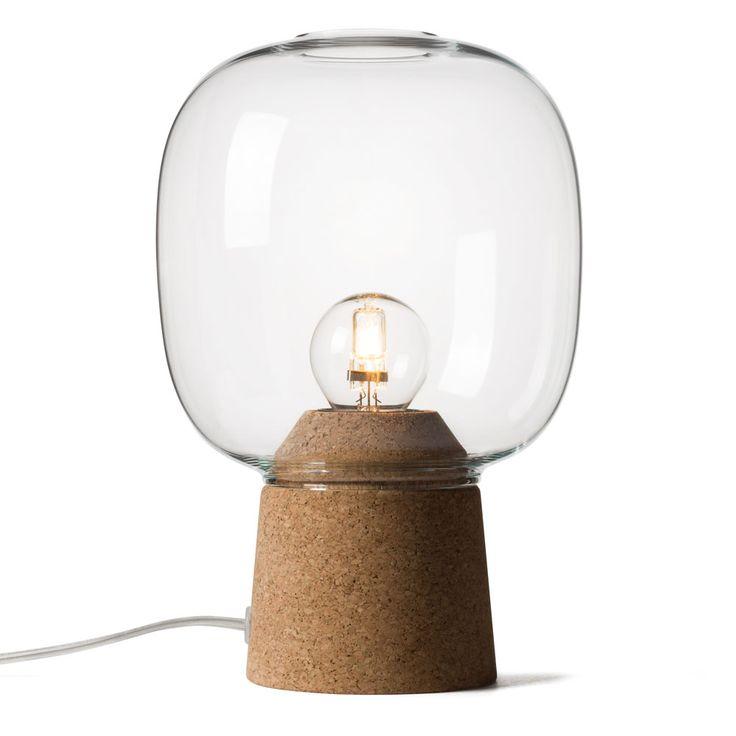 Picia lamps combine hand-blown glass and cork.