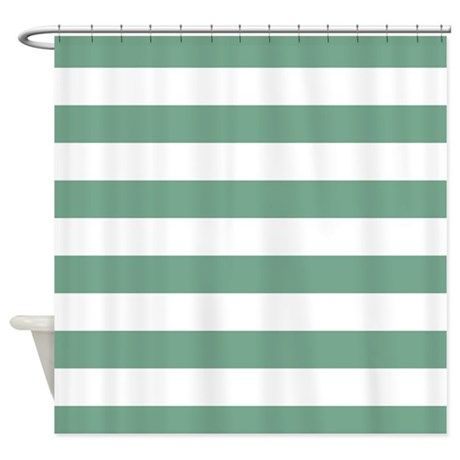 Horizontal Stripes: Seafoam Green Shower Curtain on CafePress.com