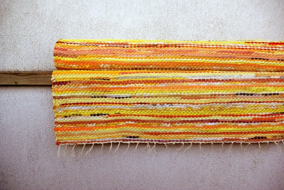 Large handwoven rug  515' x 84'  yellow orange by dodres on Etsy, $209.00