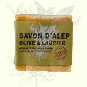 Jabón artesanal de Alepo con aceites de oliva y laurel. Higiene que regenera y suaviza la piel. Ideal cara y cuerpo.