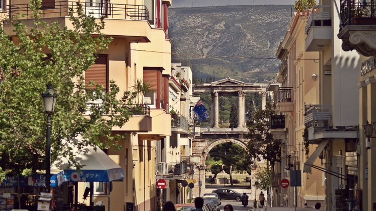 Hadrian's Gate as seen from Plaka. You can see Ymittos Mountain in the distant background. (Walking Athens, Route 05 - Lower Plaka)