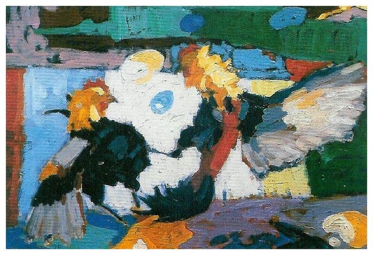 Horoz Dövüşü /Combat De Coq /  Cockfight -Oil on canvas-35x50-1989