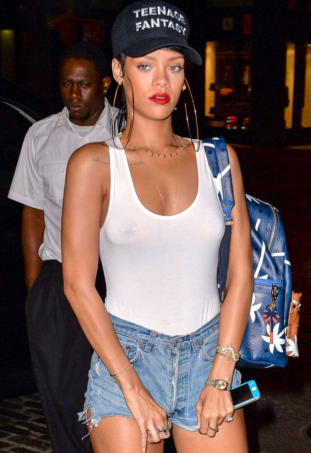 Rihanna's Style Is Back To See-Through Tops And Tiny Denim ...