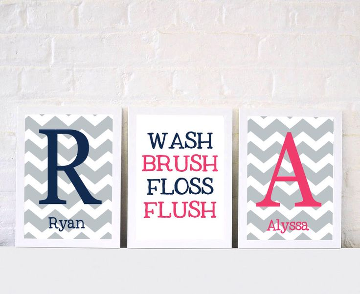 Chevron Bathroom Print Set   Boy Girl Bathroom   Brother Sister Bathroom  Prints   Set Of Part 47