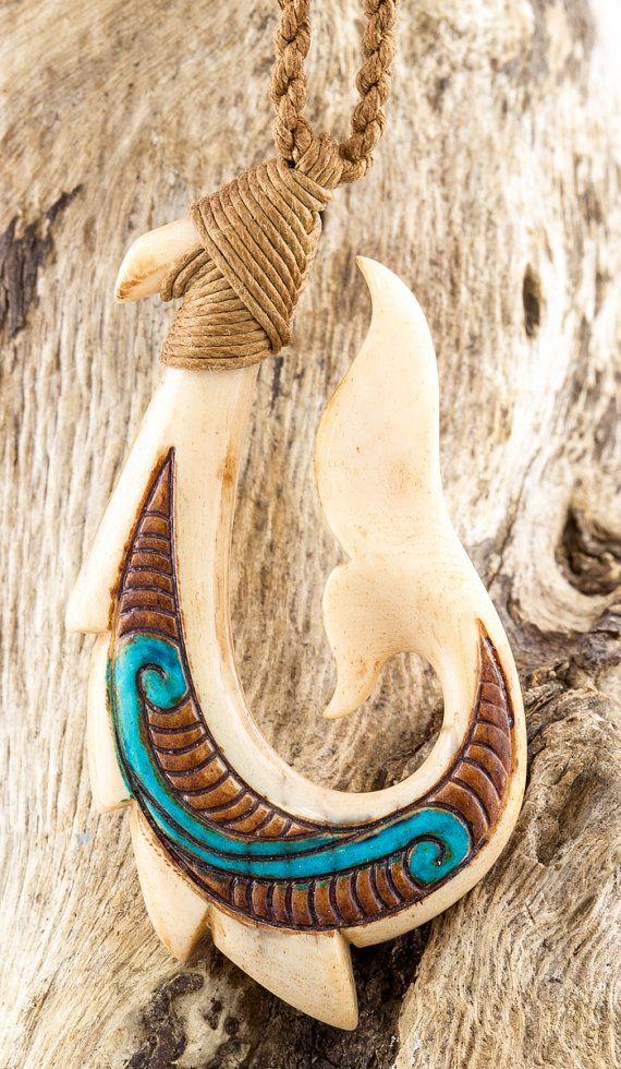 Maori Bone Color Scrimshaw Antiqued Fish Hook Whale Tail Necklace