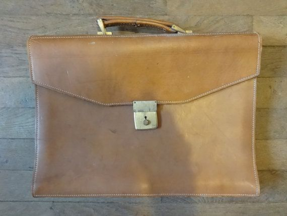 Vintage English Leather Brown Satchel Attache by EnglishShop