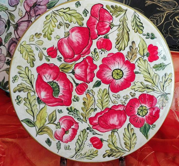 plato cerámica, pintado a mano técnica pincel seco patricia aliste