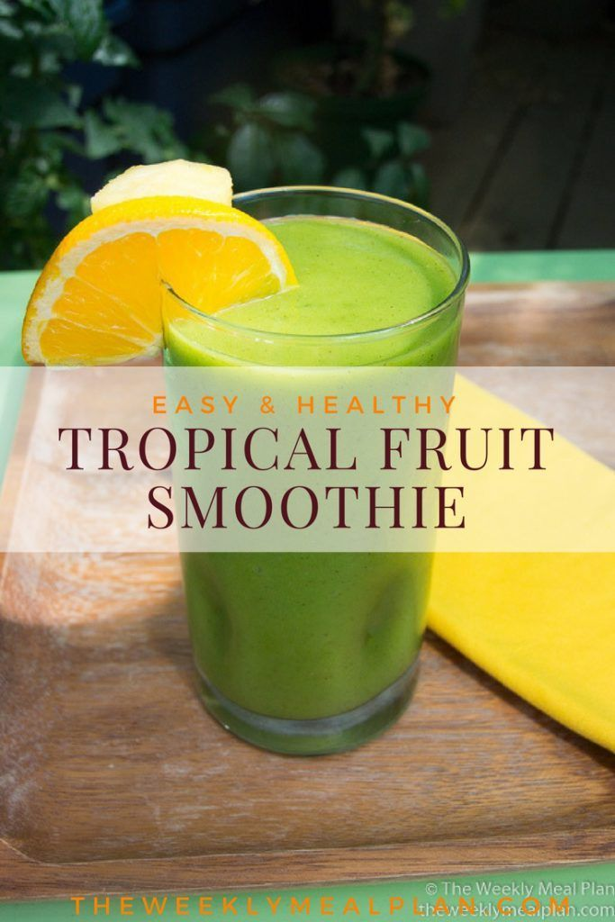 A delicious and filling tropical fruit smoothie with the nutritional boost of kale. Enjoy for breakfast or a quick snack. via @weekly_mealplan