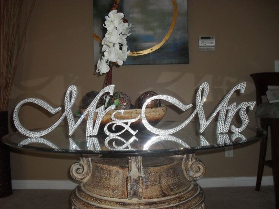 bling centerpieces for wedding reception | Gorgeous Bling Mr & Mrs. Sign Wedding Reception Cake Table Crystal ...
