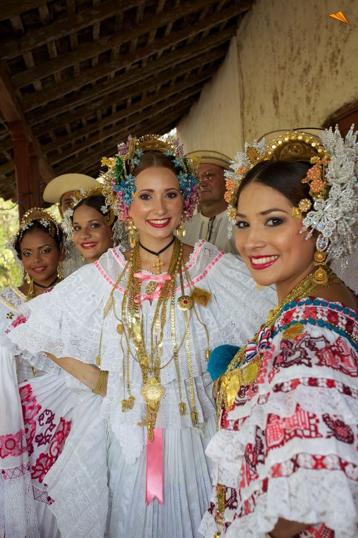"""Women wearing the Panamanian folkloric dress - """"La Pollera""""."""