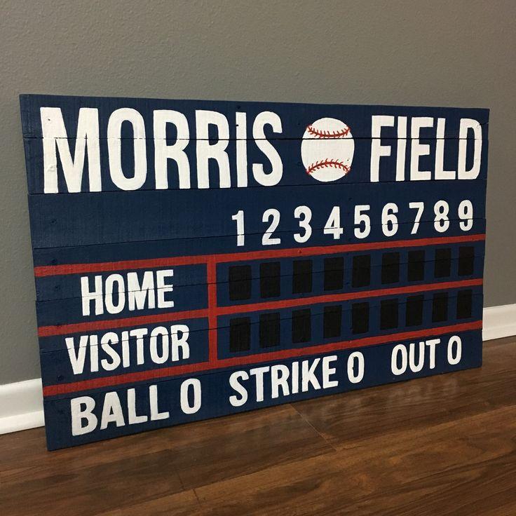 Order your custom name scoreboard artwork today. Colors, names, etc are all customizable. ParkwoodPallets.etsy.com #baseball #softball #homedecor #scoreboard #pallets #reclaimedwood