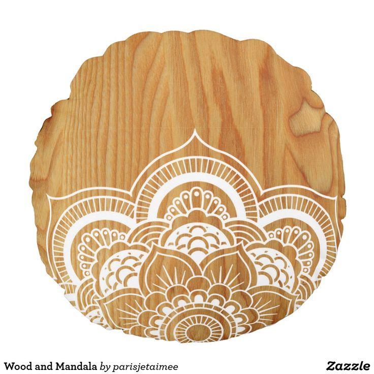Wood and Mandala Round Pillow #boho #mandala #wood #bohemian