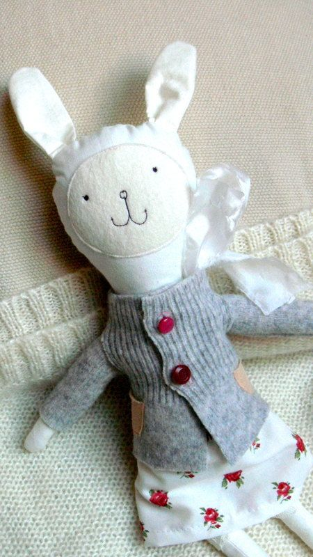 Rag doll Stuffed Bunny Toy Floral Bunny Doll by MiniwerkaToys