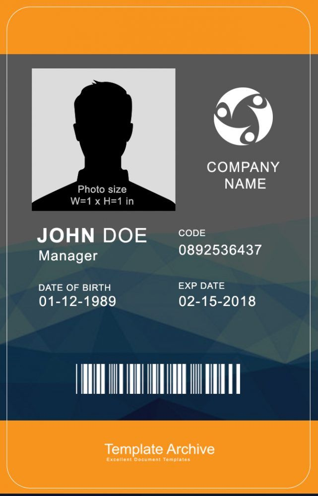 16 Id Badge Id Card Templates Free Id Card Template Employee Id Card Card Templates Free