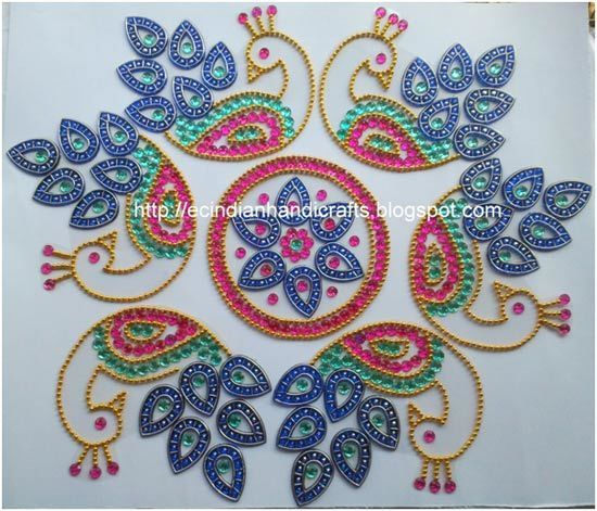 kundan rangoli designs - Peacock Rangoli Designs