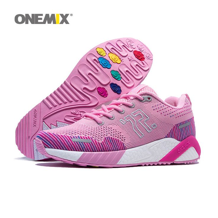 Women Running Shoes Sport Sneakers Jogging Pink White Striped Trainers Onemix