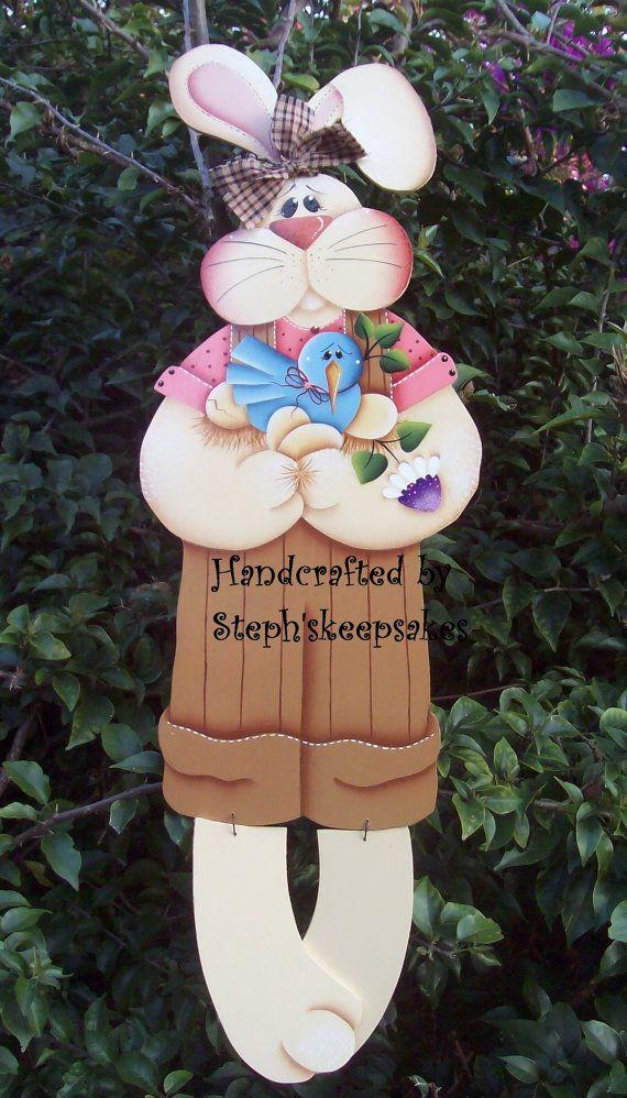 Bloomin' Spring bunny hanger Wooden Boy by stephskeepsakes