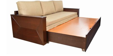 Zian Sofa Cum Bed in Honey Finish by Living Room by The Living Room