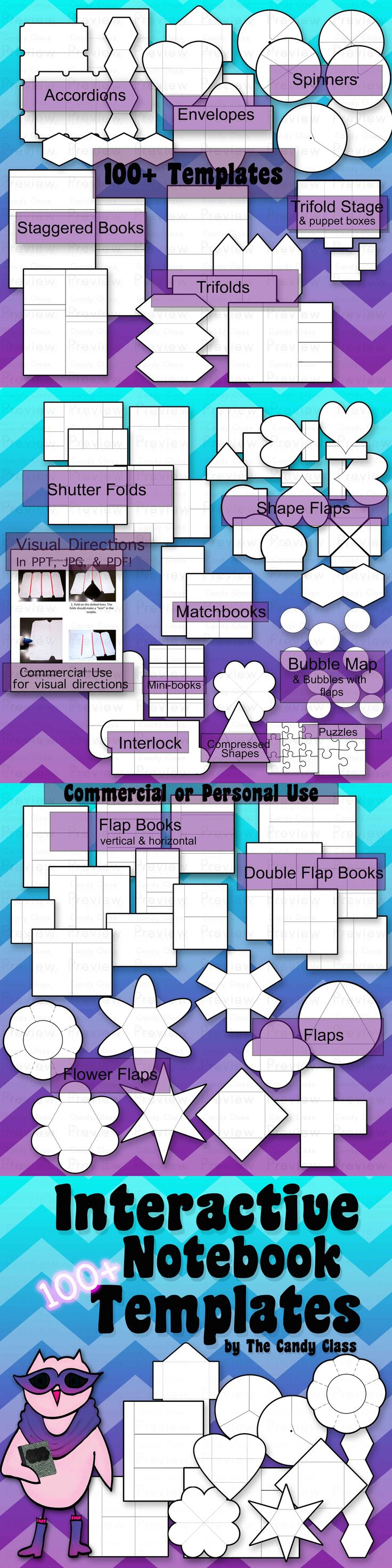 Interacting Notebook Templates with 1000+ blank templates for commercial and classroom use. Templates come in 300 dpi png images and editable PowerPoints. It includes photographed directions to assemble the templates. It also includes PowerPoint tutorials on how to add your own text and images to customize the template.