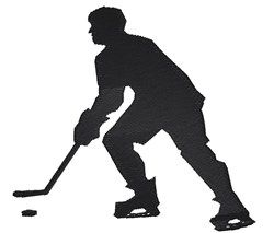 King Graphics Embroidery Design: Hockey Player Silhouette 3.40 inches H x 3.70 inches W