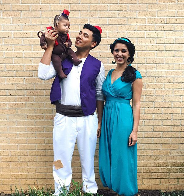 If you've got a toddler and want to do a Halloween costume theme for the baby and both parent, Aladdin, Jasmine and Abu are the perfect costumes!