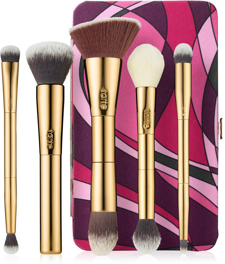Tarte Brush Set and Magnetic Palette - A collection of five full size tarteistTM brushes and portable magnetic palette. What the product does: Be your own tarteistTM with these essential tools of the trade, including five vegan friendly, full face brushes and a customizable makeup case. The PRO quality, limited-edition gold brushes are must-haves in any tarteistTM beauty arsenal