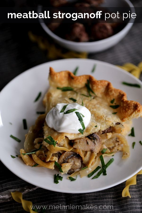 My Meatball Stroganoff Pot Pie is a comfort food reality.  Baked meatballs, noodles, onions and mushrooms get cozy in a thyme and yogurt sauce before being tucked between two sheets of pie crust and baked to a golden brown.  Topped with a big dollop of yogurt and a sprinkle of parsley, each slice is absolute perfection. @kitchendailypin @noyolksnoodles #onlynoyolks