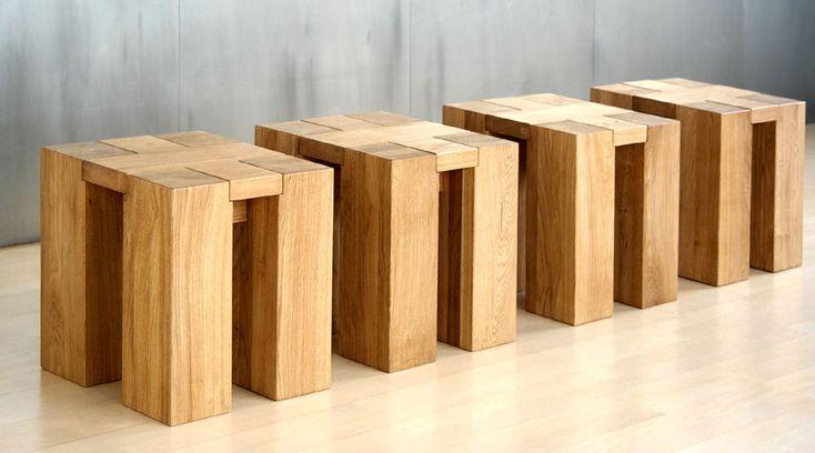 Hocker massiv aus Holz - Abbildung in Eiche und Beinprofil 14x14cm