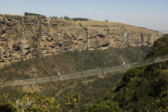 Suspension bridge, Umzimkulwane River, wuspension bridge over Umzimkulwane River, Oribi Gorge Nature Reserve, KwaZulu-Natal, South Africa