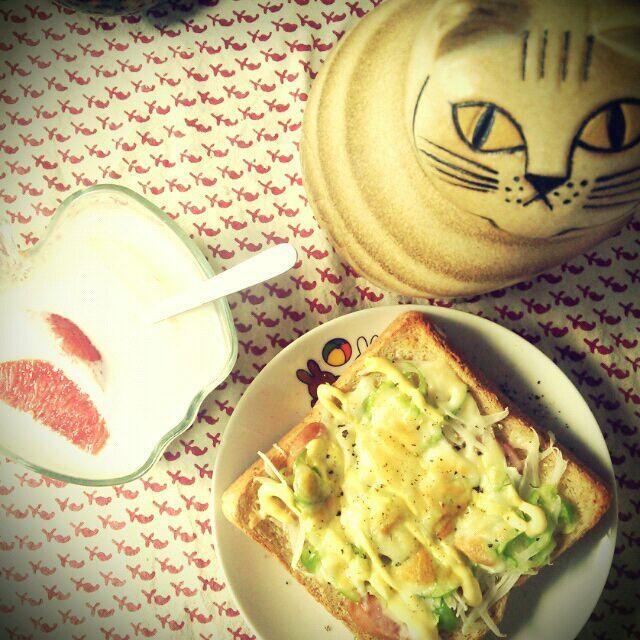 朝からがっつりトースト!ライ麦食パンにソーセージ、スライスオニオン、ピーマン、チーズ、マヨそして黒胡椒がりがり。(しっかり本家の作り方) 熱で甘くなったオニスラが美味しい~(^q^)♡  nao子さんに敬意を表し、リサラーソンの猫付きで(=^ェ^=) - 181件のもぐもぐ - nao子se川さんのピーマン、オニスラ山盛りチーズパン♡ by tommysaku