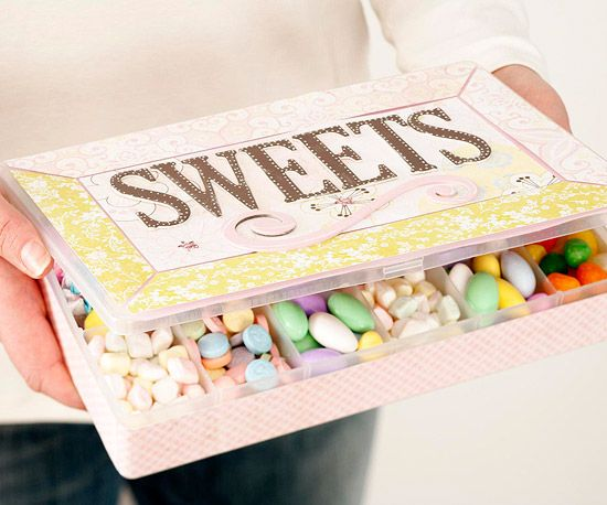 Box of Sweets-super easy homemade gift to make...bought container for cheap-filled with persons favorite candy!