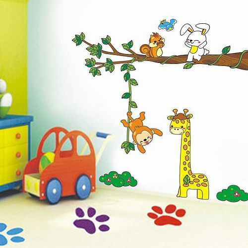 Monkey tree animal wall sticker www.walldecals.ie