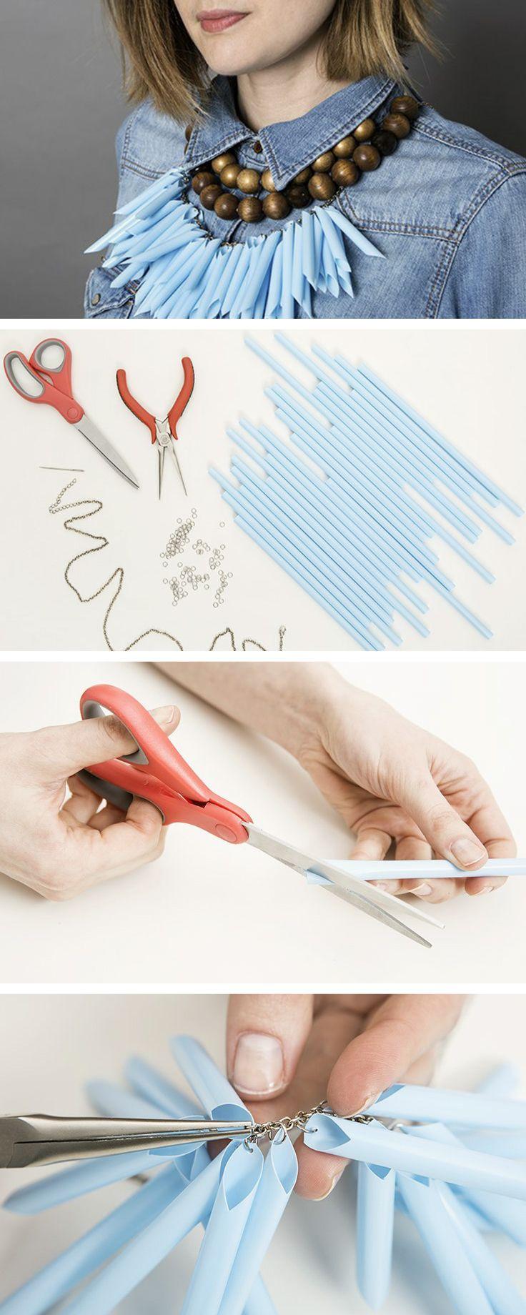 #Tutoriel : Fabriquez un collier #plastron original en pailles ! #DIY