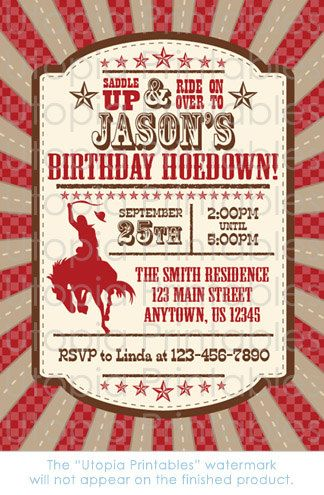 Cowboy Birthday Invitation Hoedown Theme Party by UtopiaPrintables