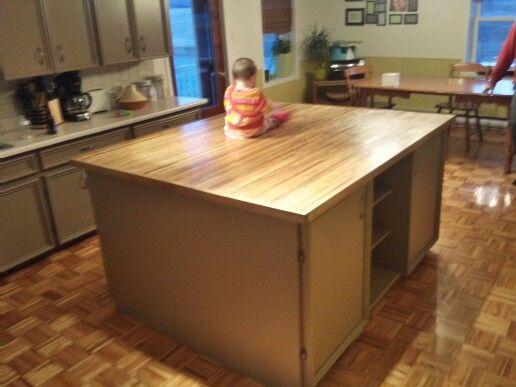 Lot fabriquer sur mesure comptoir en rable lamell s - Fabriquer un ilot de cuisine en bois ...