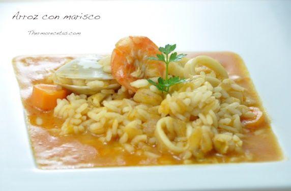 Arroz con marisco (sin fumet ni caldo de pescado) - http://www.thermorecetas.com/2013/11/17/arroz-con-marisco-express-sin-fumet/